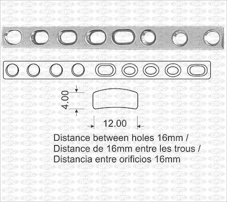 Placa de compresión Estrecha ACP (Placa de Compresión Activa) con Orificios
