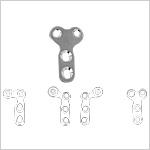 Placa en´ L´ y T´´ 2.0 para articulacion de dedo,Cabeza, Vástago con 2 agujeros, cabeza con 2 agujeros