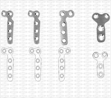 Placa en´ L´ y T 2.7mm con 3 agujeros en Vástago & 2 agujeros en la cabeza
