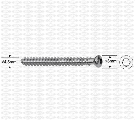 Tornillo de Esponjosa Canulado 4.5mm, Totalmente Roscado, Boca Hexagonal