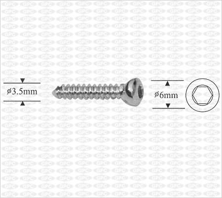 Tornillo de cortical autorroscante 3.5mm, Boca Hexagonal.